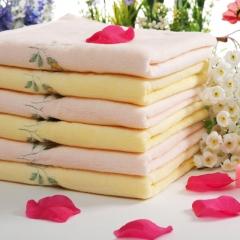 洁丽雅 纯棉无捻割绒绣花面巾 黄色 条