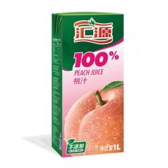 汇源100%纸盒桃汁 百分百纯果汁 健康营养每一天 一盒 1l