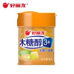 好丽友 木糖醇3+口香糖清甜香瓜味56g 无糖口香糖泡泡糖