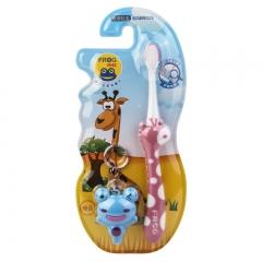 青蛙宝贝 儿童软毛牙刷送卡通玩具117B(颜色随机)