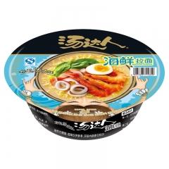 统一汤达人方便面海鲜拉面碗面110g 速食泡面汤面鲜虾面碗装食品